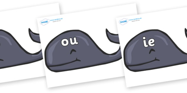 Phase 5 Phonemes on Whales - Phonemes, phoneme, Phase 5, Phase five, Foundation, Literacy, Letters and Sounds, DfES, display