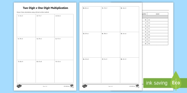 Two Digit X One Digit Multiplication Worksheet Activity Sheet