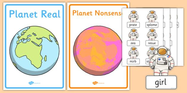 Phase 5 Real and Nonsense Words Sorting Activity Sheet, worksheet
