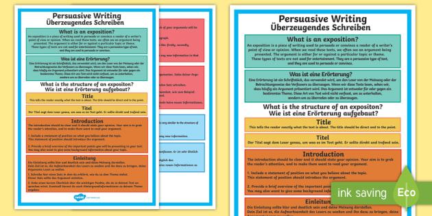 Year 5 Persuasive Writing A4 Display Poster English/German