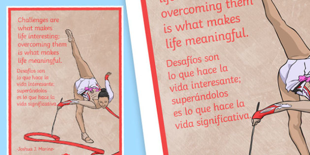 Challenges Are What Makes Life Interesting Motivational Poster Spanish Translation--translation