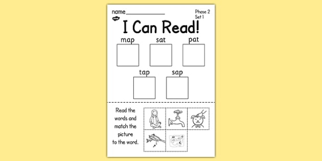 i can read phase 2 set 1 words worksheet    activity sheet