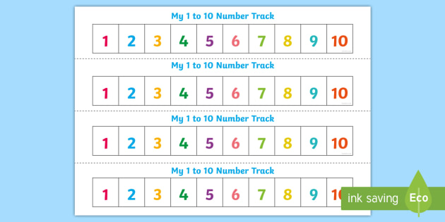 Free Numbers 1 10 Number Track Maths Math Number