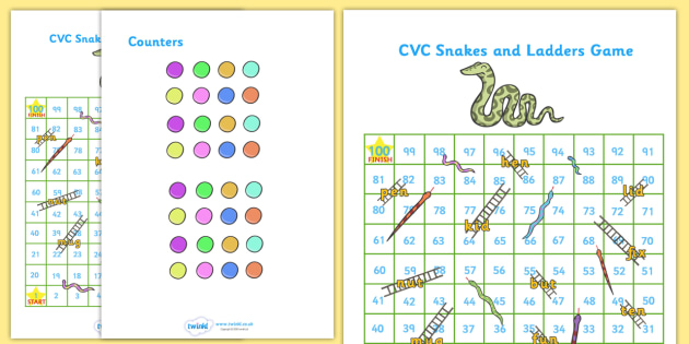 Snakes and Ladders CVC (1-100) - snakes and ladders, 1-100, game, activity, numeracy, maths, calculation, CVC