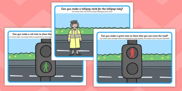 Road Safety Playdough Mats Polish Translation - road, safety, traffic, cars, transport, vehicles, roads, playdough, play, malleable, fine motor, finger fitness