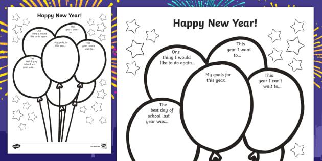 Happy New Year Activity sheet - new year, worksheet / activity sheet, happy new year