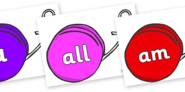 Foundation Stage 2 Keywords on Yo Yos - FS2, CLL, keywords, Communication language and literacy,  Display, Key words, high frequency words, foundation stage literacy, DfES Letters and Sounds, Letters and Sounds, spelling