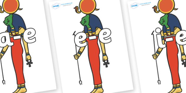Modifying E Letters on Egyptian Icons - Modifying E, letters, modify, Phase 5, Phase five, alternative spellings for phonemes, DfES letters and Sounds