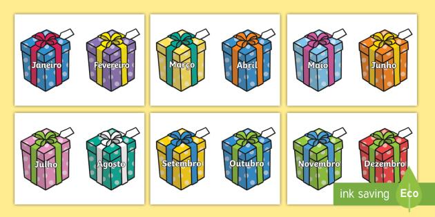 Meses do ano, presentes de aniversário - dia,semana,mes,dias,semanas,meses,ano,anos,tempo,gestao,sala de aula, calendario, vocabulario