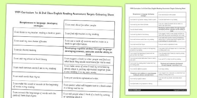 1999 Curriculum 1st & 2nd Class English Reading Assessment Targets Colouring Sheet - Ireland, Irish