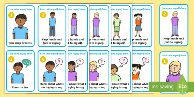 I Can Calm Myself Down Prompt Cards - SEN, Calm, behaviour management, autism, autistic, calming strategies, think what I am saying, count to 10, deep breath, good hands and feet