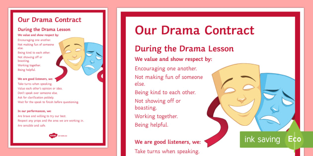 Drama Contract Display Poster - contract, rules, drama, theatre