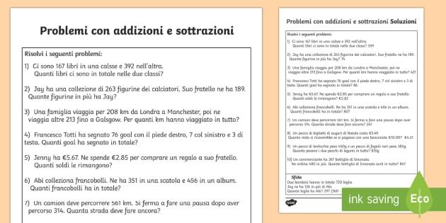 Problemi sulle Addizioni per Seconda e Terza - addizione