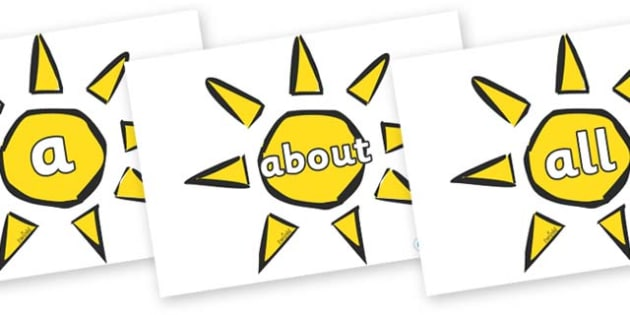 100 High Frequency Words on Weather Symbols (Sun) - High frequency words, hfw, DfES Letters and Sounds, Letters and Sounds, display words