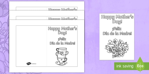 mother s day gift card template english spanish mother s day