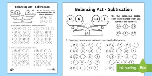 ks1 balancing act subtraction worksheet activity sheet balancing. Black Bedroom Furniture Sets. Home Design Ideas