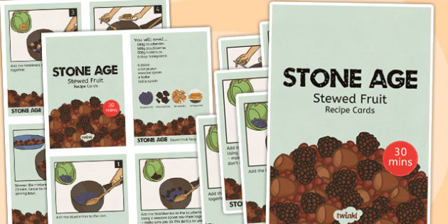 Stone Age Stewed Fruit Recipe Cards - stone age, recipe, cards