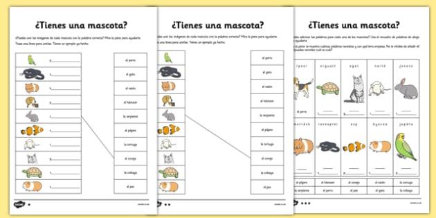 Tienes Mascotas Activity Sheet Spanish - spanish, pets, animals, worksheet