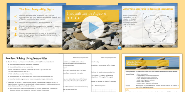 Maths Mastery Using Inequalities To Solve Problems Lesson Pack