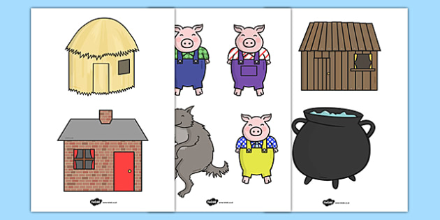 the three little pigs puppet templates - the three little pigs stick puppets three little pigs stick