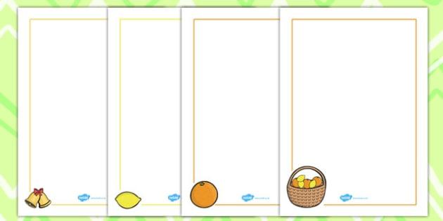 Oranges and Lemons Page Borders - page borders, oranges, lemons
