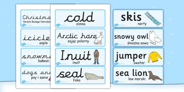 Winter Topic Word Cards Polish Translation - polish translation