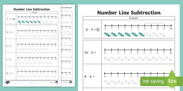 Subtraction From 10 Number Line Worksheet - numberline, subtract