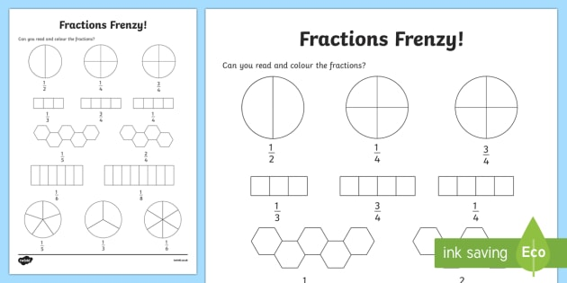 Fractions Frenzy Read and Colour Worksheet / Worksheet ...