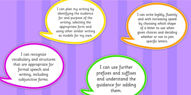 2014 National Curriculum UKS2 Years 5 and 6 Writing Assessment I Can Speech