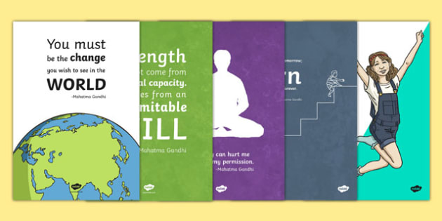 Mahatma Gandhi Quotes Display Posters - change, world, positive, thinking, mindset, overcome, significant, individual