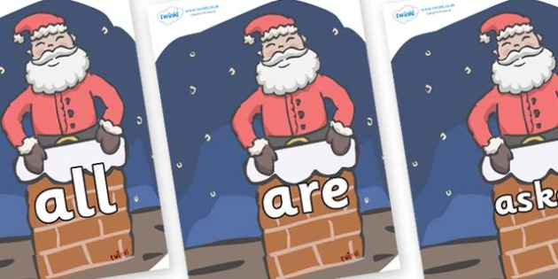 Tricky Words on Santa (Chimney) - Tricky words, DfES Letters and Sounds, Letters and sounds, display, words