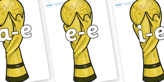 Modifying E Letters on World Cup Trophy - Modifying E, letters, modify, Phase 5, Phase five, alternative spellings for phonemes, DfES letters and Sounds