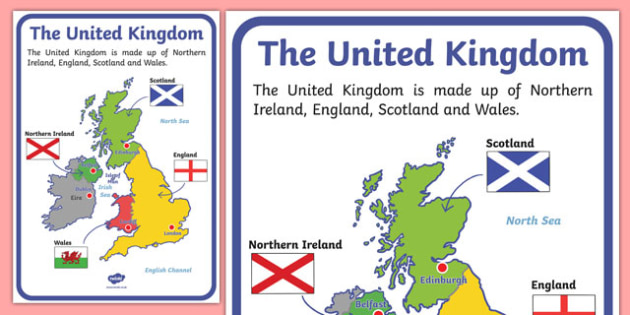 Uk Map Of Countries.The United Kingdom Display Poster Geography Countries Display