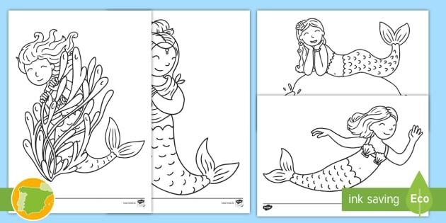 NEW * Hojas de colorear: Sirenas - sirenita, ariel