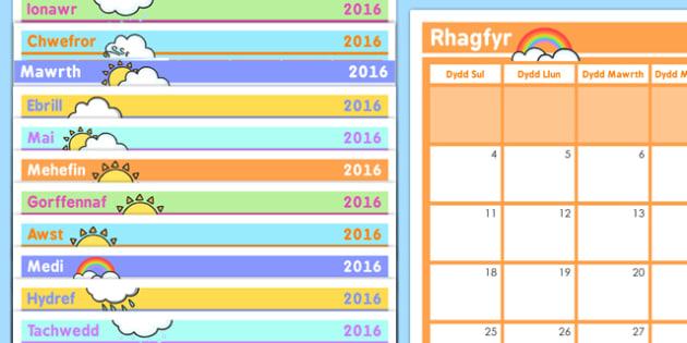 Welsh Calendar 2016- welsh, calendar, days, dates, weeks, months