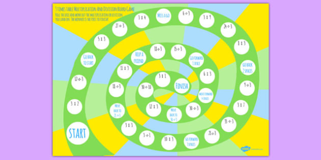 3 Times Table Multiplication And Division Board Game Board