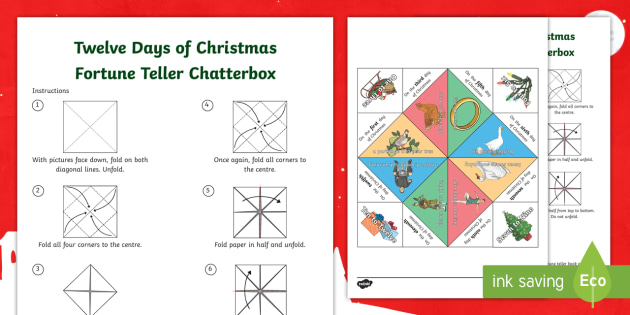 how to make a chatterbox template - twelve days of christmas fortune teller template chatterbox