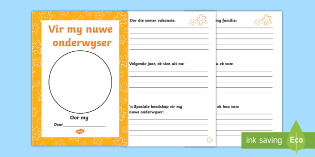 Afrikaans Translation Vir my nuwe onderwyser oorgang bookie - For My New Teacher Transition Booklet - transition, booklet, back to school, end of year, transition