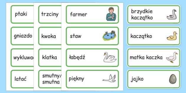 Karty ze słownictwem Brzydkie kaczątko po polsku - bajki, baśnie