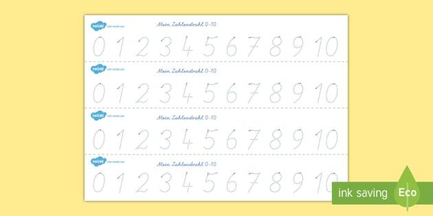 Zahlenstrahl 1 10 Arbeitsblatt Erstes Schreiben: Zahlen