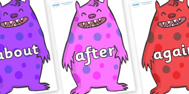 KS1 Keywords on Monsters - KS1, CLL, Communication language and literacy, Display, Key words, high frequency words, foundation stage literacy, DfES Letters and Sounds, Letters and Sounds, spelling