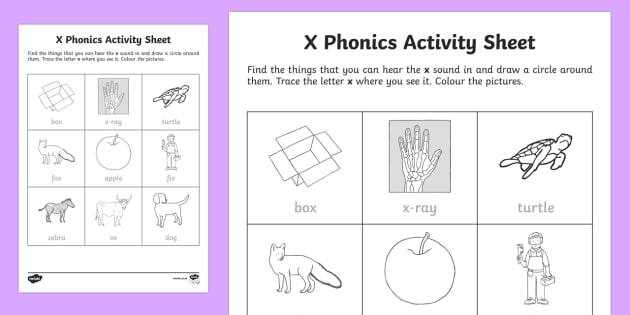 x Phonics Worksheet / Activity Sheet - Republic of Ireland, Phonics Resources, vocabulary, sounding out, vocabulary, tracing, letter format