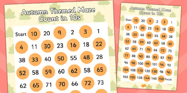 Autumn Themed Counting in 10s Maze - seasons, counting aid, count
