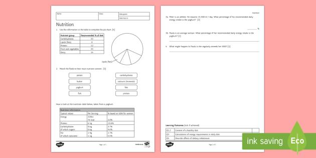 KS3 Nutrition Homework Worksheet / Activity Sheet - Homework, diet, healthy diet, healthy eating, food groups, nutrition, nutrients, energy, energy inta