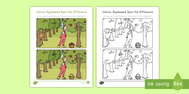 Johnny Appleseed Spot The Difference Worksheet Activity Sheet