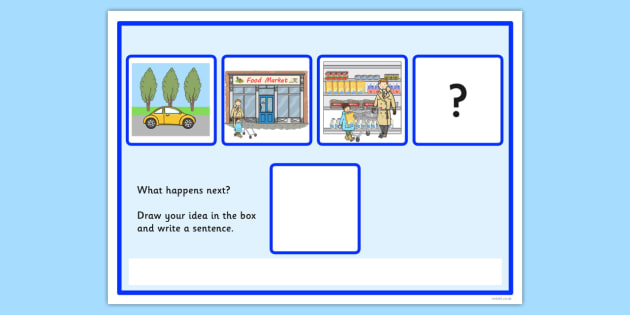 What Happens Next? Fill in the Blank Worksheet for 'Going to the Supermarket' - supermarket, cards