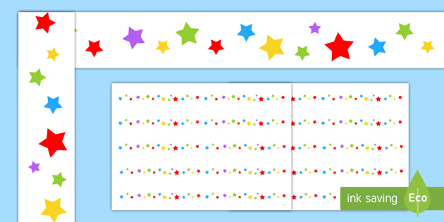 Multicoloured Stars A3 Display Borders - display borders, display