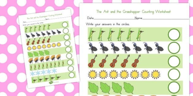 The Ant and the Grasshopper Counting Sheet - count, worksheet
