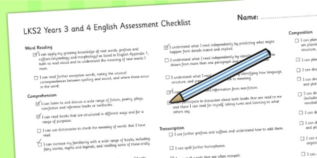 2014 Curriculum Years 3 and 4 English Assessment Individual Checklist