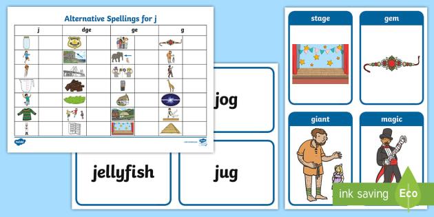 Alternative Spellings For J Table Worksheet Alternative